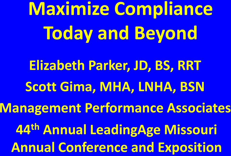 Management Performance Associates 44 th Annual