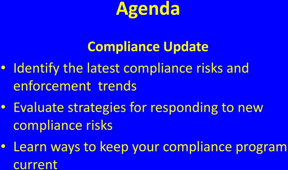 strategies for responding to new compliance