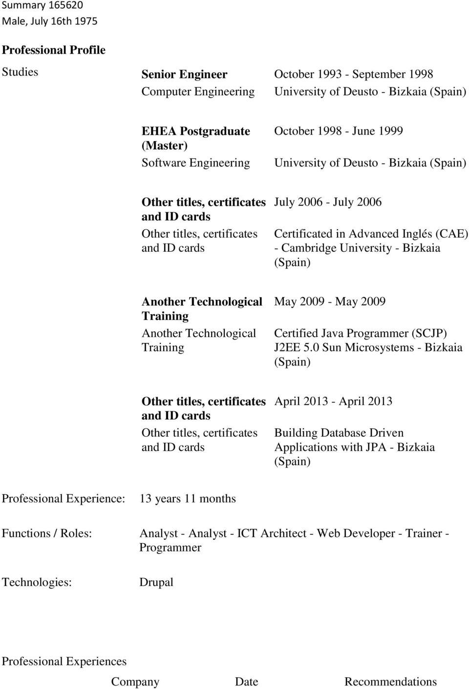 Technological Training Another Technological Training May 2009 - May 2009 Certified Java Programmer (SCJP) 5.