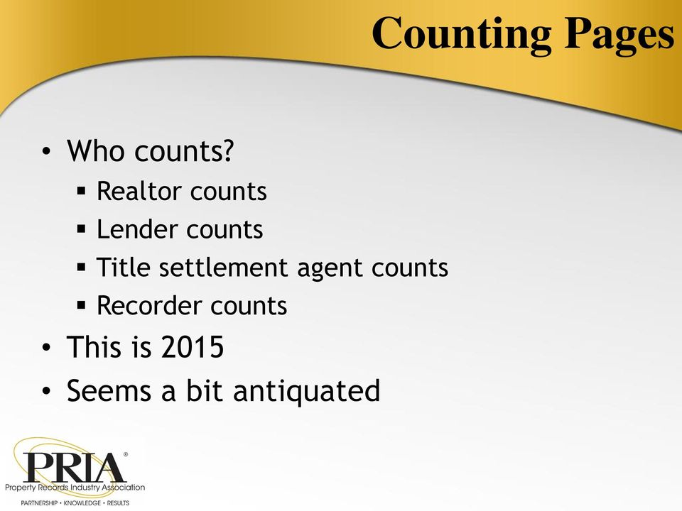 settlement agent counts Recorder