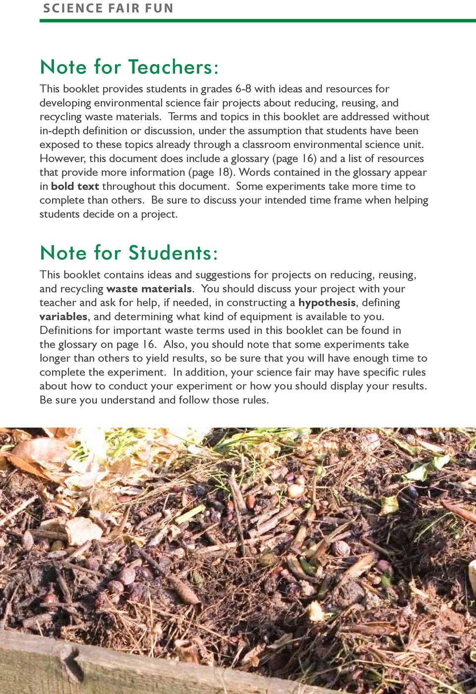 environmental science unit. However, this document does include a glossary (page 16) and a list of resources that provide more information (page 18).