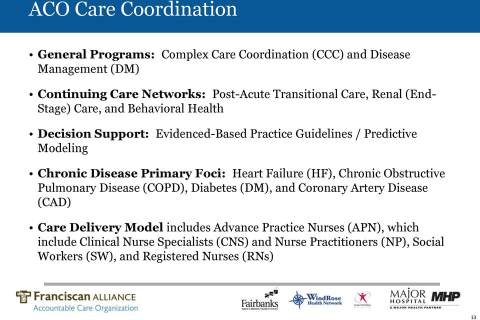 Foci: Heart Failure (HF), Chronic Obstructive Pulmonary Disease (COPD), Diabetes (DM), and Coronary Artery Disease (CAD) Care Delivery Model includes