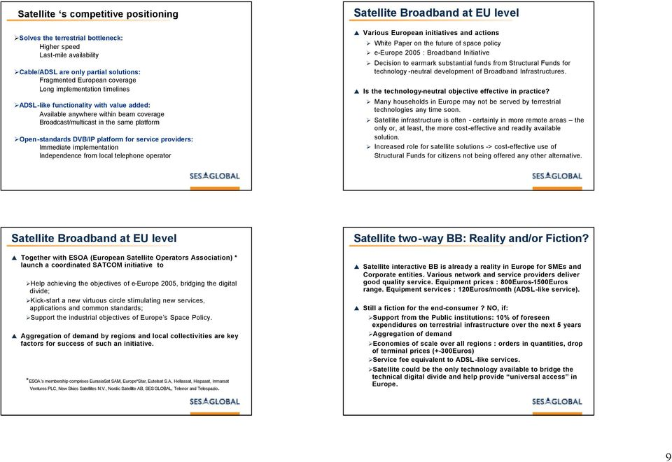 implementation Independence from local telephone operator Satellite Broadband at EU level Various European initiatives and actions White Paper on the future of space policy e-europe 2005 : Broadband
