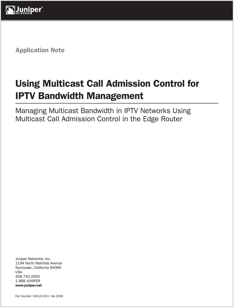 Using Multicast Call Admission Control for IPTV Bandwidth Management