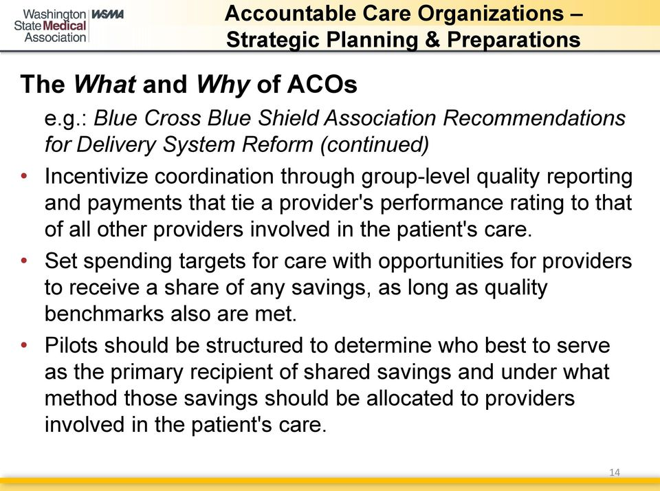 payments that tie a provider's performance rating to that of all other providers involved in the patient's care.