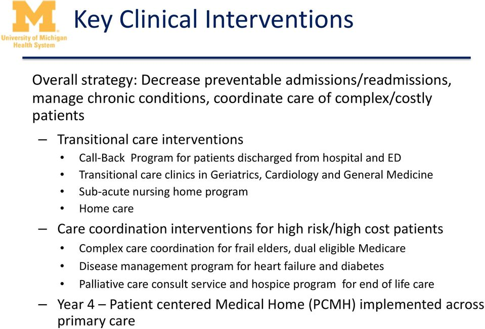 home program Home care Care coordination interventions for high risk/high cost patients Complex care coordination for frail elders, dual eligible Medicare Disease management