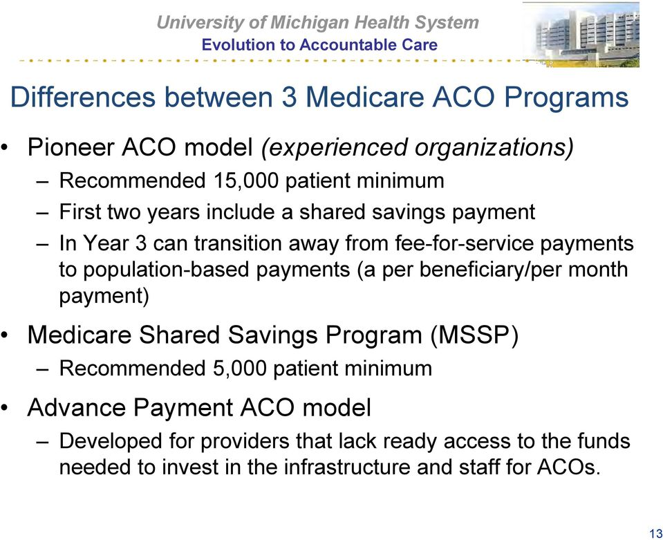 payments (a per beneficiary/per month payment) Medicare Shared Savings Program (MSSP) Recommended 5,000 patient minimum Advance