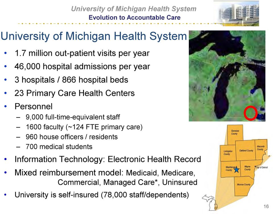 faculty (~124 FTE primary care) 960 house officers / residents 700 medical students Information Technology: Electronic Health Record