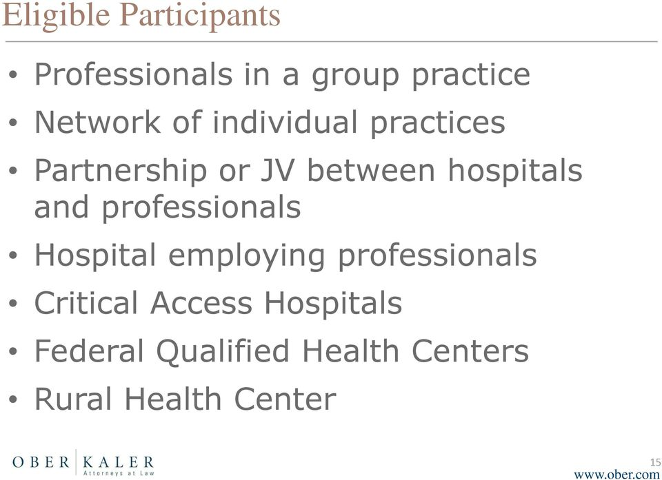 professionals Hospital employing professionals Critical Access