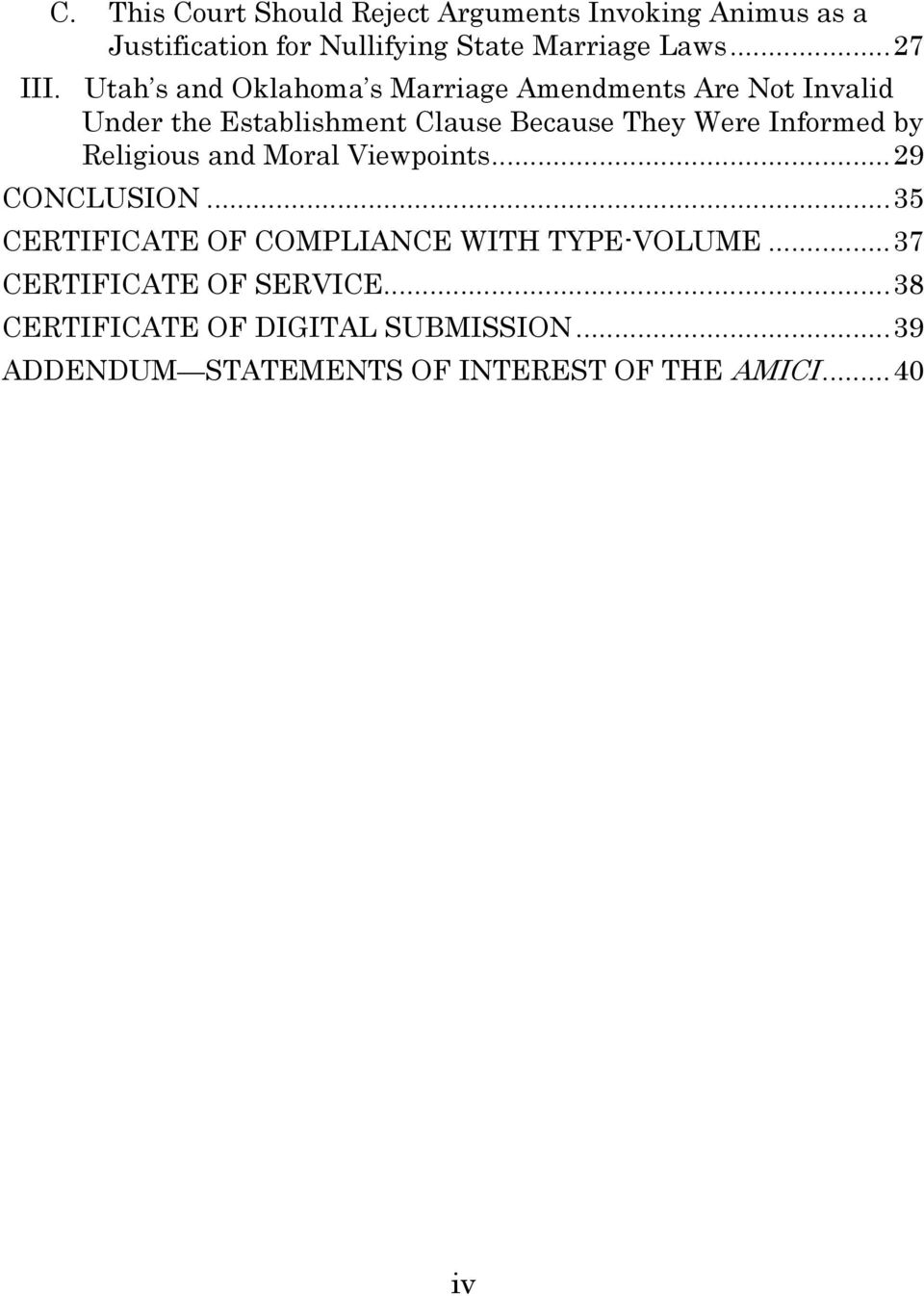 by Religious and Moral Viewpoints... 29 CONCLUSION... 35 CERTIFICATE OF COMPLIANCE WITH TYPE-VOLUME.