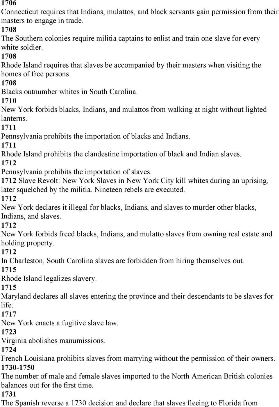 1708 Rhode Island requires that slaves be accompanied by their masters when visiting the homes of free persons. 1708 Blacks outnumber whites in South Carolina.