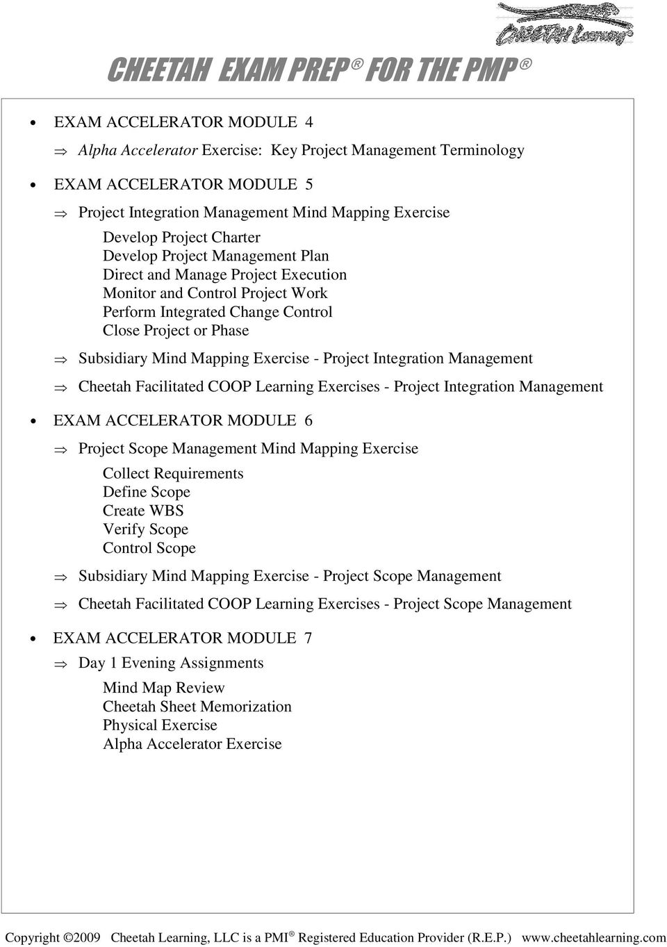 Integration Management Cheetah Facilitated COOP Learning Exercises - Project Integration Management EXAM ACCELERATOR MODULE 6 Project Scope Management Mind Mapping Exercise Collect Requirements