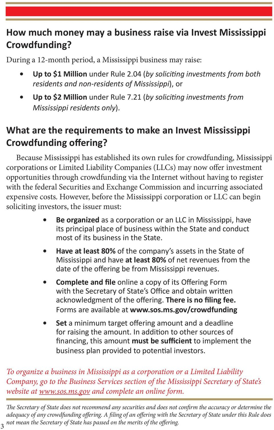 What are the requirements to make an Invest Mississippi Crowdfunding offering?