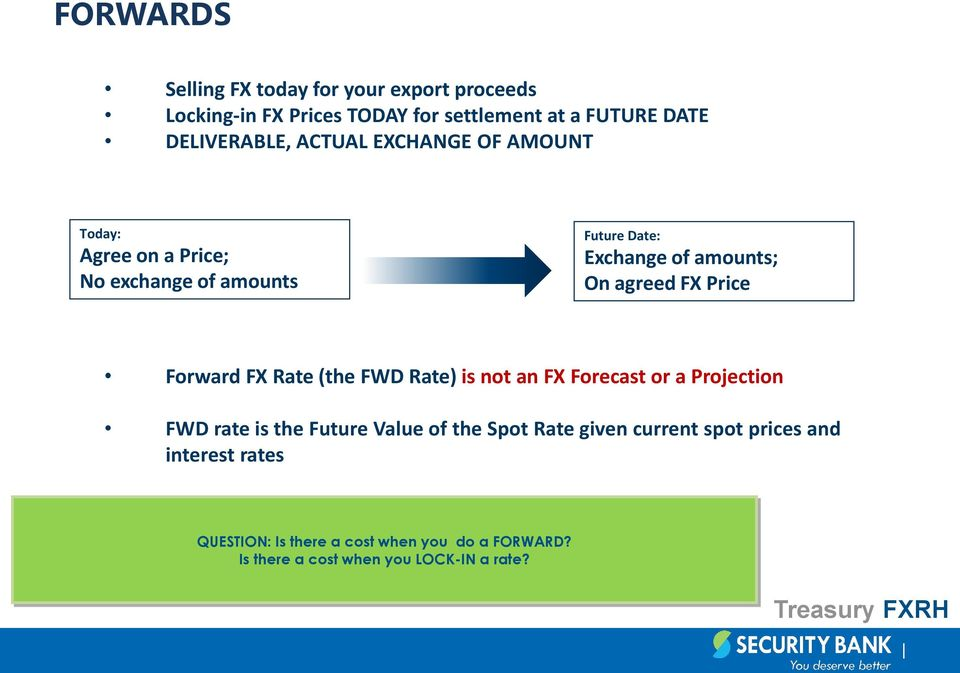 Price Forward FX Rate (the FWD Rate) is not an FX Forecast or a Projection FWD rate is the Future Value of the Spot Rate