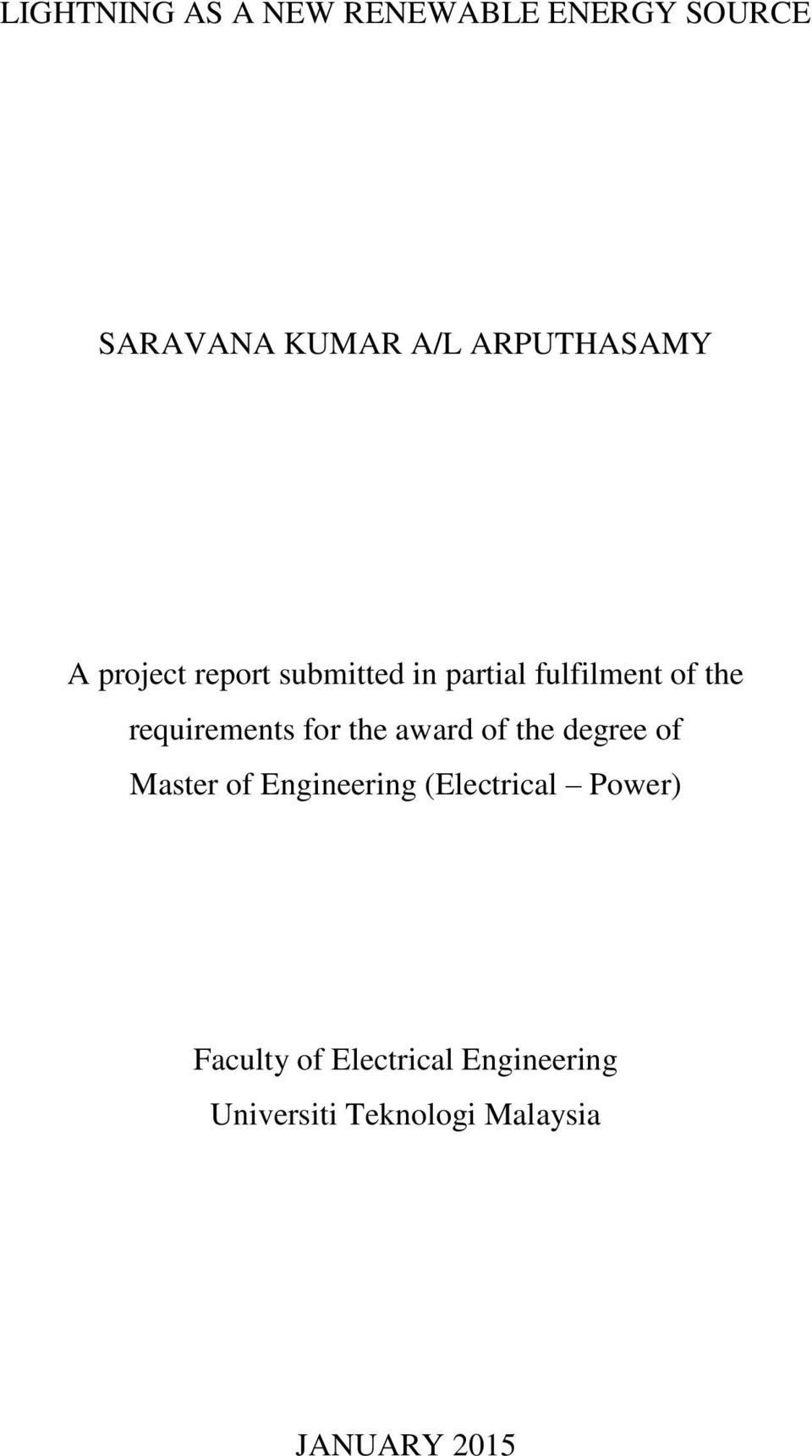 requirements for the award of the degree of Master of Engineering