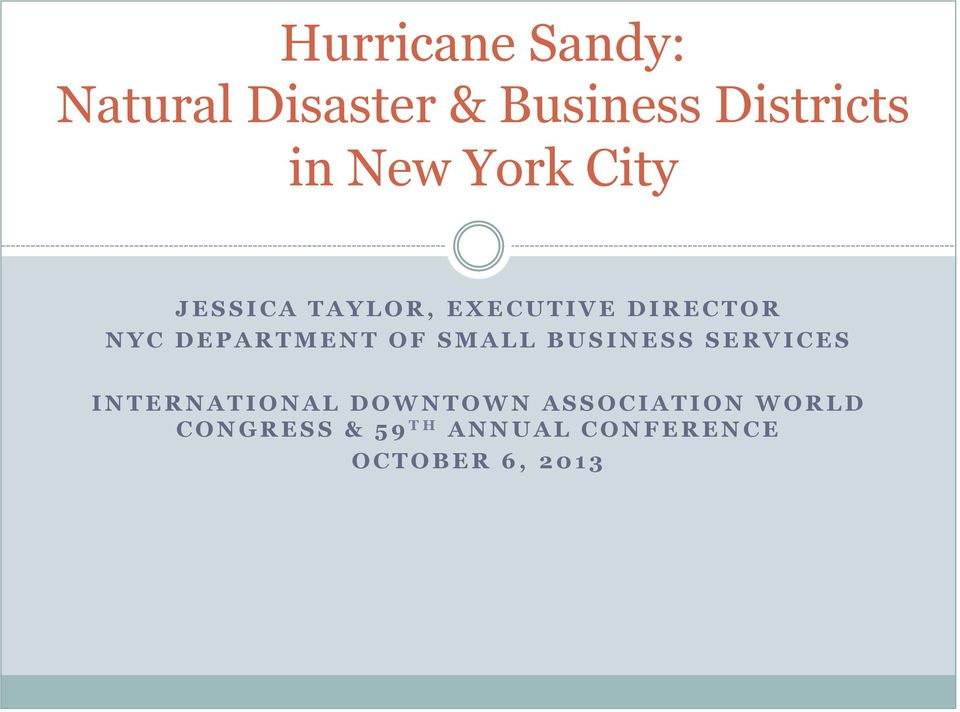 DEPARTMENT OF SMALL BUSINESS SERVICES INTERNATIONAL