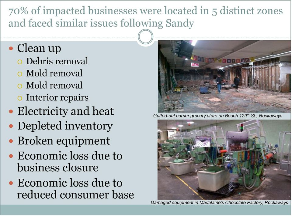 Depleted inventory! Broken equipment! Economic loss due to business closure!