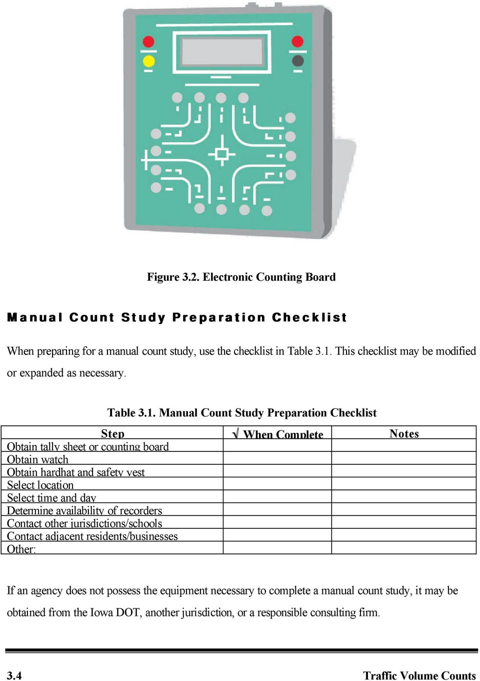 Manual Count Study Preparation Checklist Step When Complete Notes Obtain tally sheet or counting board Obtain watch Obtain hardhat and safety vest Select location Select time and