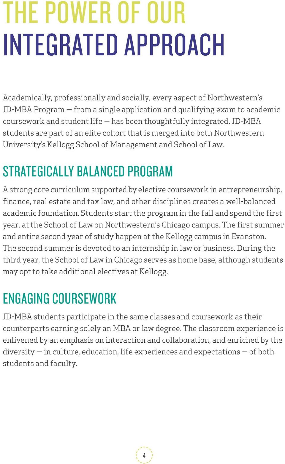 STRATEGICALLY BALANCED PROGRAM A strong core curriculum supported by elective coursework in entrepreneurship, finance, real estate and tax law, and other disciplines creates a well-balanced academic