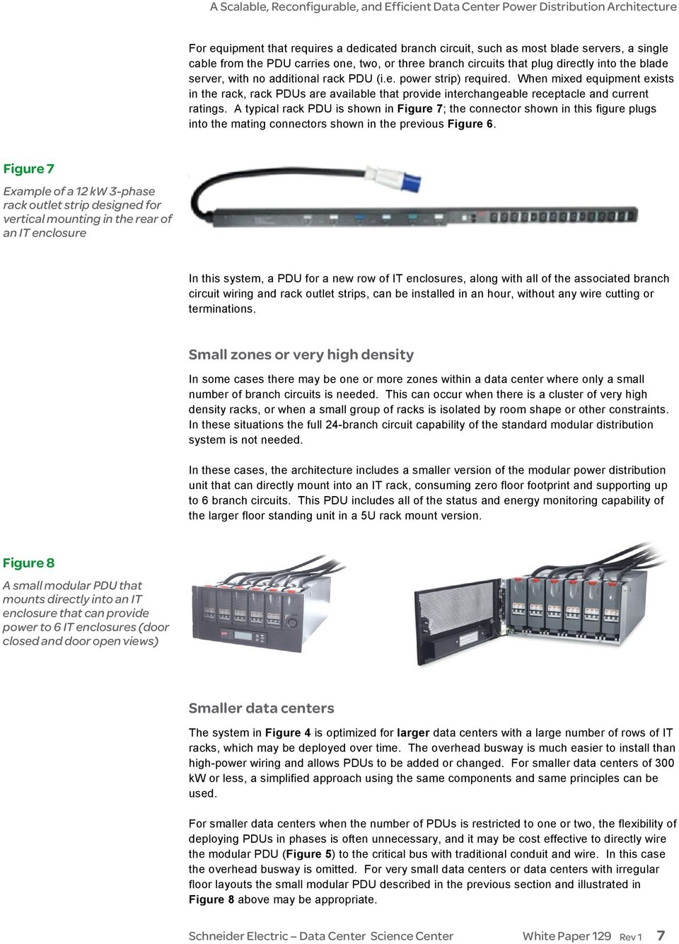 A typical rack PDU is shown in Figure 7; the connector shown in this figure plugs into the mating connectors shown in the previous Figure 6.