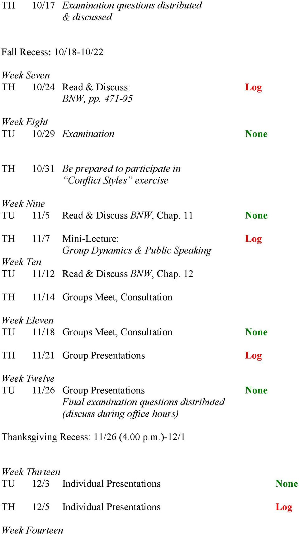 11 None TH 11/7 Mini-Lecture: Log Group Dynamics & Public Speaking Week Ten TU 11/12 Read & Discuss BNW, Chap.