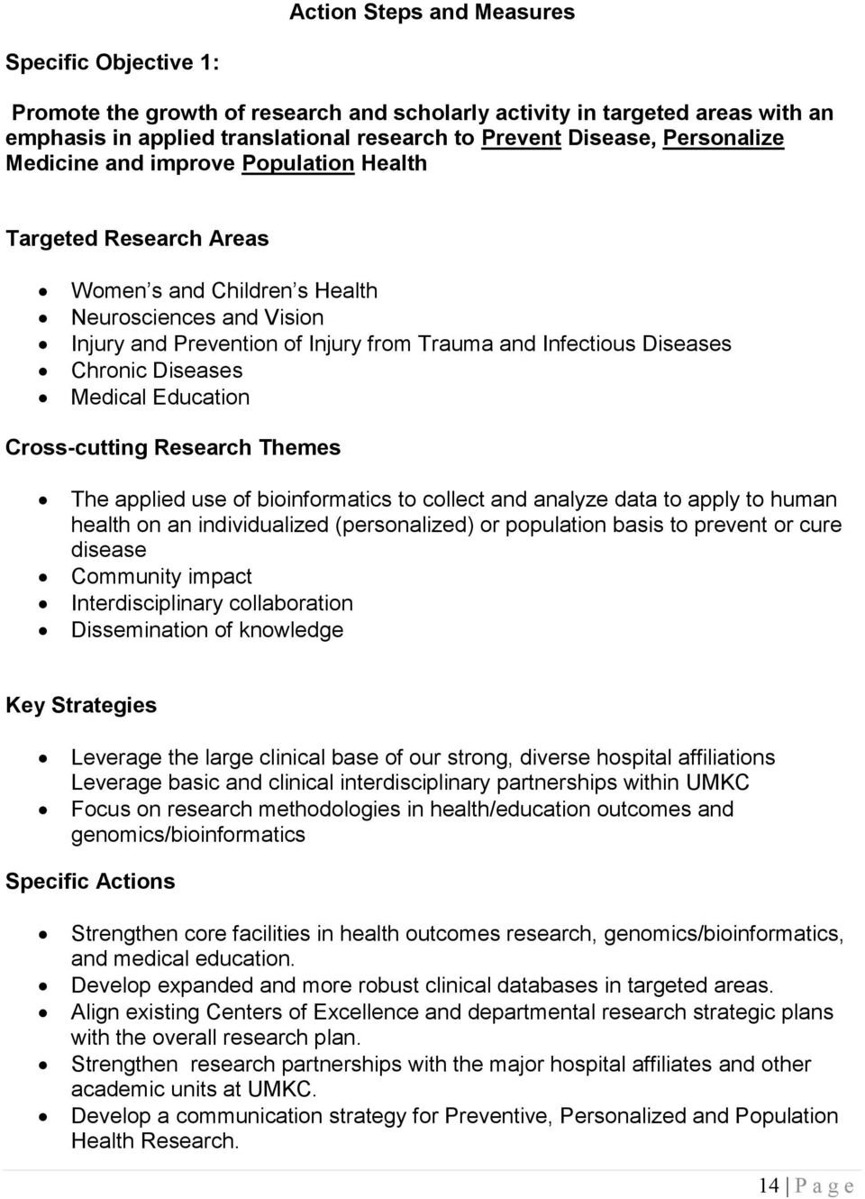 Chronic Diseases Medical Education Cross-cutting Research Themes The applied use of bioinformatics to collect and analyze data to apply to human health on an individualized (personalized) or