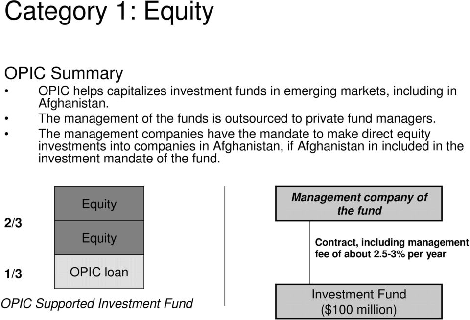 The management companies have the mandate to make direct equity investments into companies in Afghanistan, if Afghanistan in included