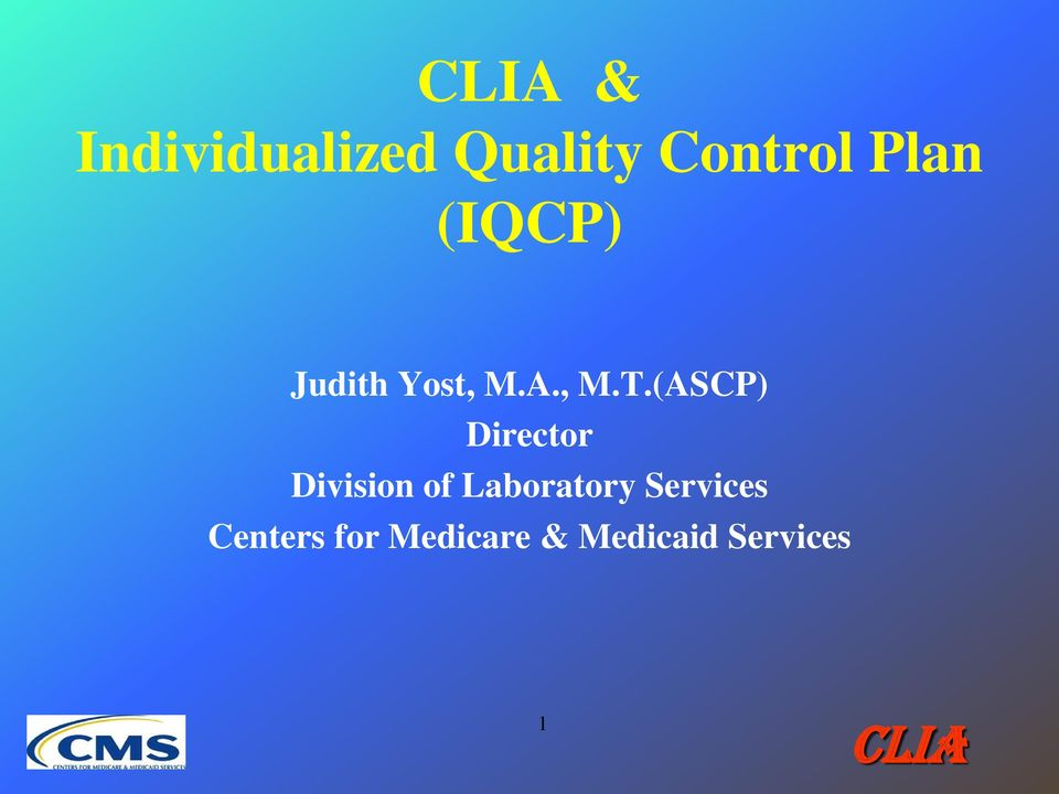 clia individualized quality control plan iqcp pdf rh docplayer net cms clia state operations manual Clinical Laboratory Procedure Manual