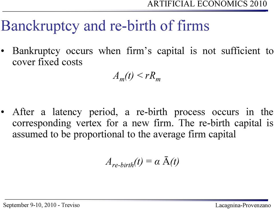 re-birth process occurs in the corresponding vertex for a new firm.