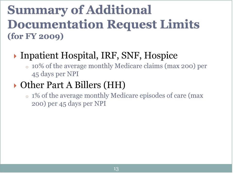 Medicare claims (max 200) per 45 days per NPI Other Part A Billers (HH)
