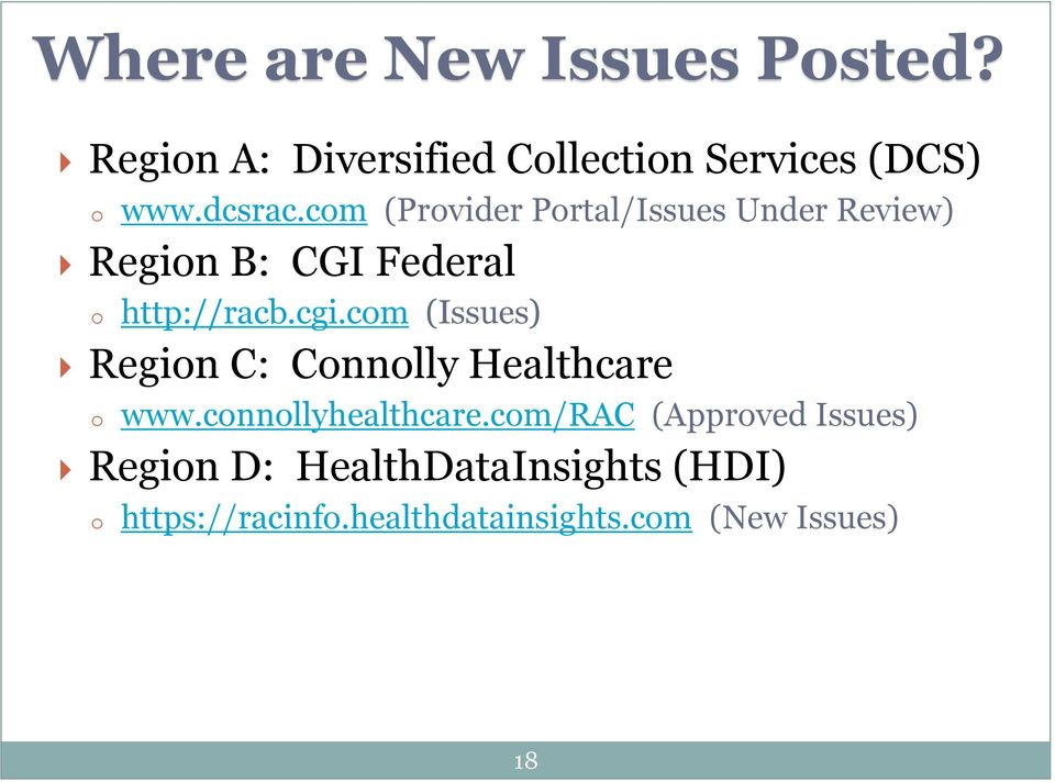 com (Issues) Region C: Connolly Healthcare o www.connollyhealthcare.