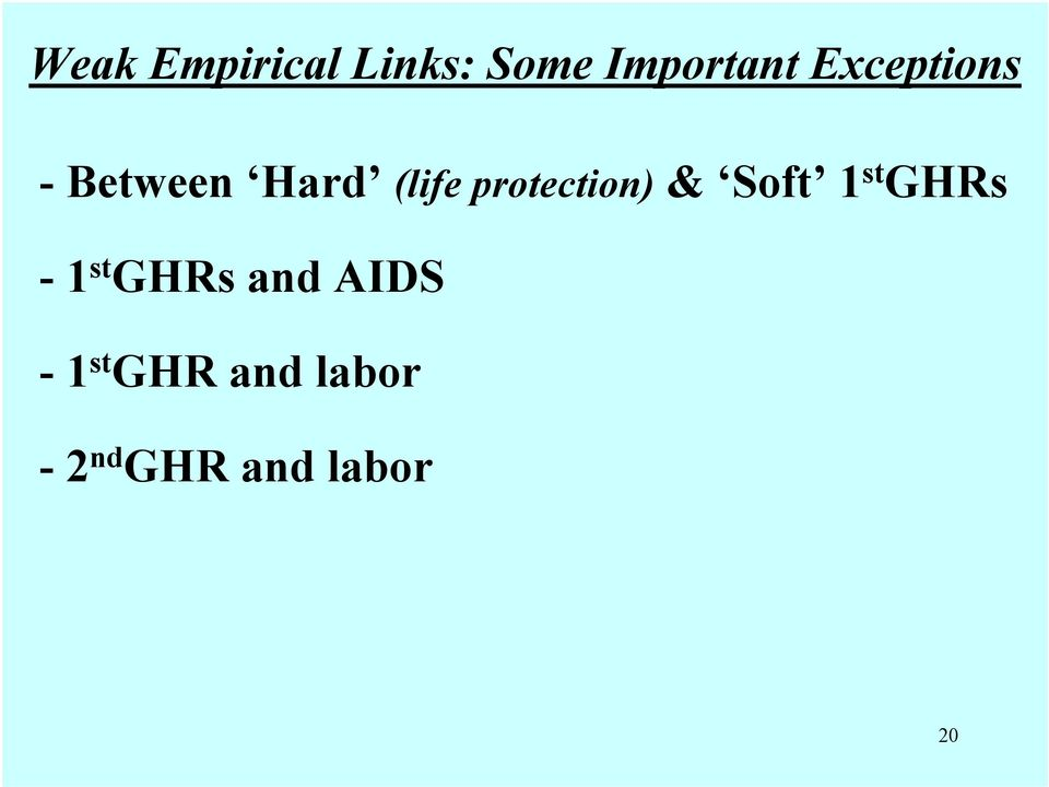 protection) & Soft 1 st GHRs - 1 st GHRs