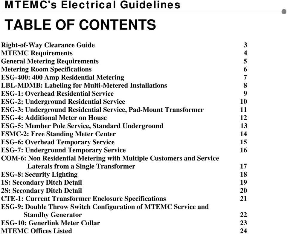Electrical Service Guidelines - PDF