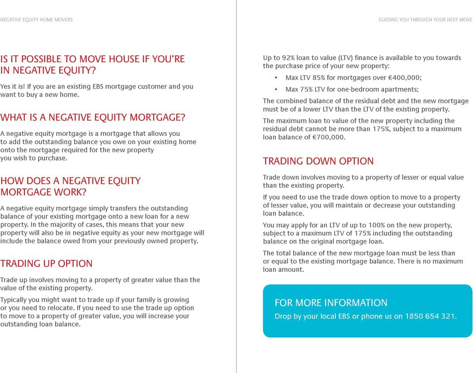 HOW DOES A NEGATIVE EQUITY MORTGAGE WORK? A negative equity mortgage simply transfers the outstanding balance of your existing mortgage onto a new loan for a new property.
