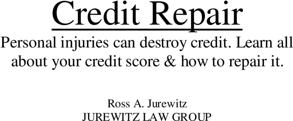 Learn all about your credit score &
