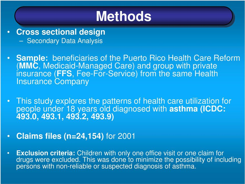 under 18 years old diagnosed with asthma (ICDC: 493.0, 493.1, 493.2, 493.