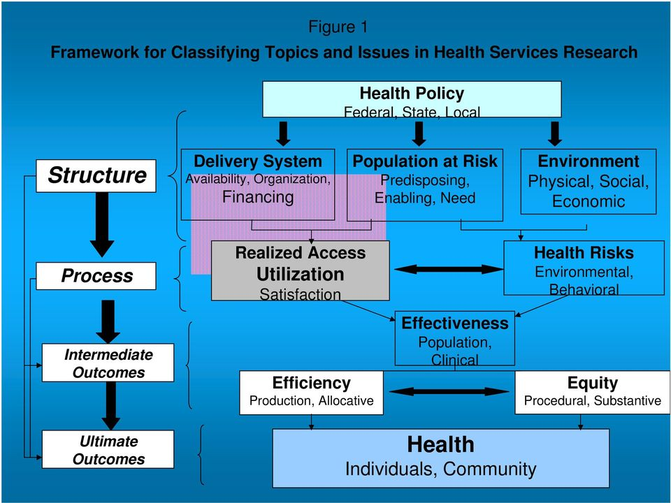 Economic Process Realized Access Utilization Satisfaction Health Risks Environmental, Behavioral Intermediate Outcomes Efficiency