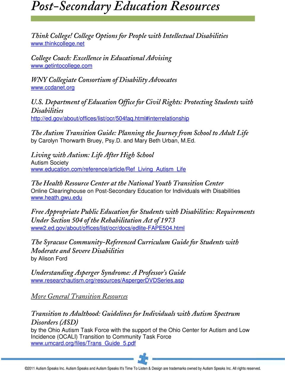 gov/about/offices/list/ocr/504faq.html#interrelationship The Autism Transition Guide: Planning the Journey from School to Adult Life by Carolyn Thorwarth Bruey, Psy.D. and Mary Beth Urban, M.Ed.