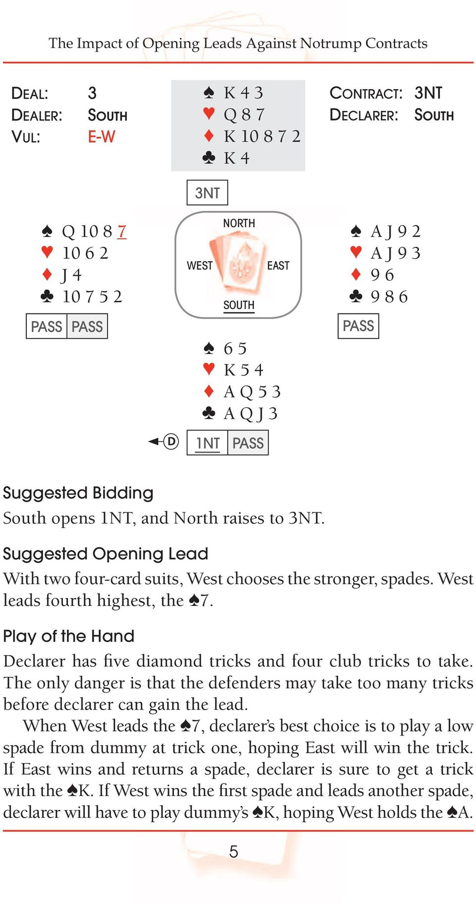 West leads fourth highest, the 7. Play of the Hand Declarer has five diamond tricks and four club tricks to take.