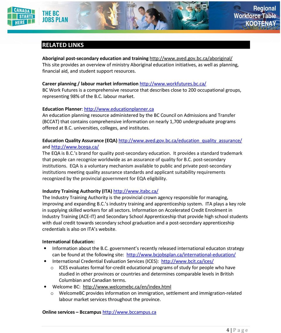 Career planning / labour market information http://www.workfutures.bc.ca/ BC Work Futures is a comprehensive resource that describes close to 200 occupational groups, representing 98% of the B.C. labour market. Education Planner: http://www.