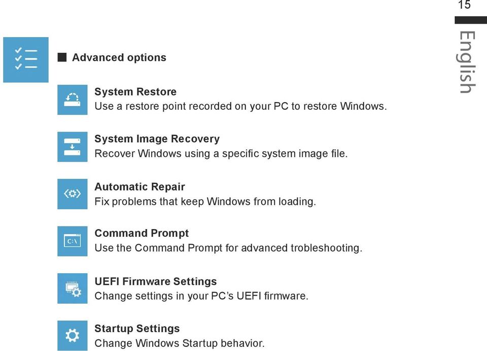 Automatic Repair Fix problems that keep Windows from loading.