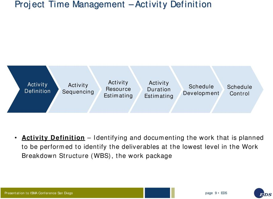 Definition Identifying and documenting the work that is planned to be performed to identify the
