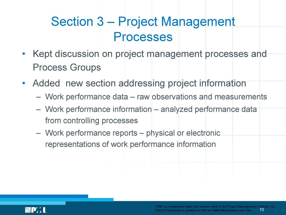 performance information analyzed performance data from controlling processes Work performance reports physical or