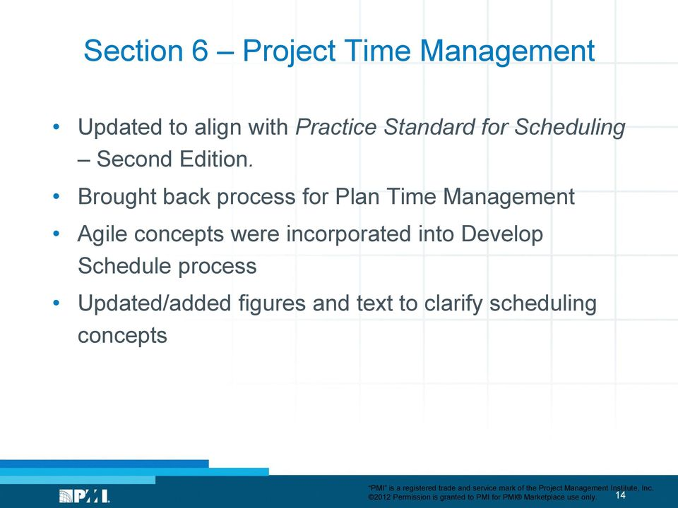 Brought back process for Plan Time Management Agile concepts were incorporated into