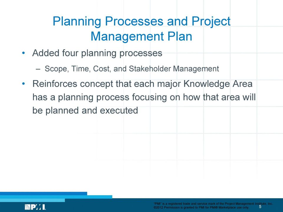 major Knowledge Area has a planning process focusing on how that area will be