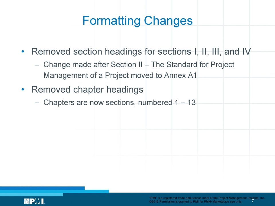 Project moved to Annex A1 Removed chapter headings Chapters are now