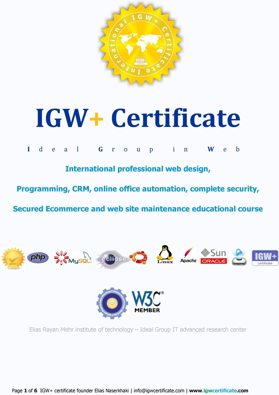 course IGW+ security certificate Elias Rayan Mehr institute of technology Ideal Group IT advanced