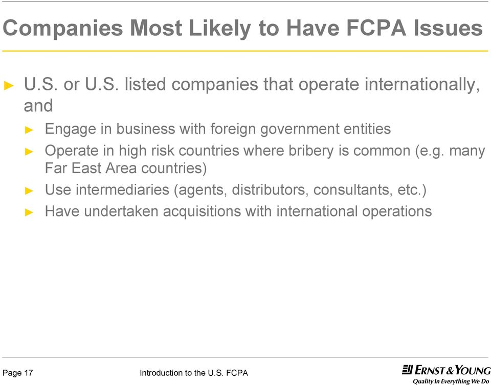 listed companies that operate internationally, and Engage in business with foreign government
