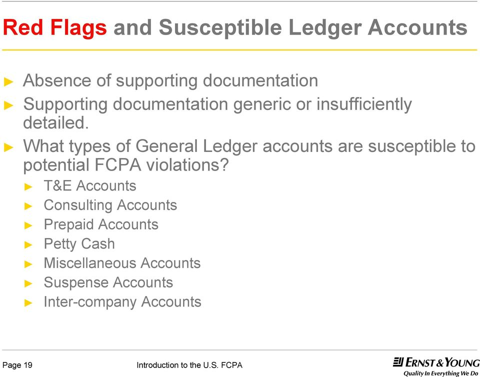 What types of General Ledger accounts are susceptible to potential FCPA violations?