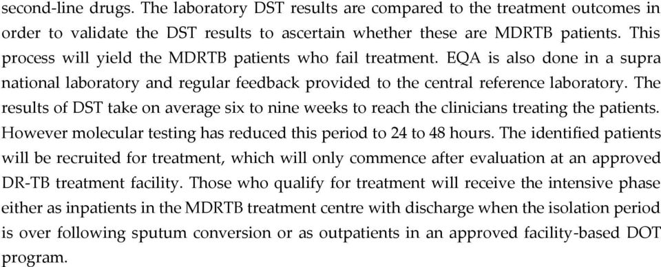 The results of DST take on average six to nine weeks to reach the clinicians treating the patients. However molecular testing has reduced this period to 24 to 48 hours.
